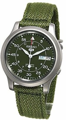 Seiko Men's SNK805 5 Automatic Stainless Steel Watch with Green Canvas