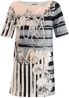 Emma Cook Serpent and pearl-print shift dress