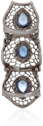 Loree Rodkin Spiderweb 18-karat rhodium white gold, sapphire and diamond armor ring