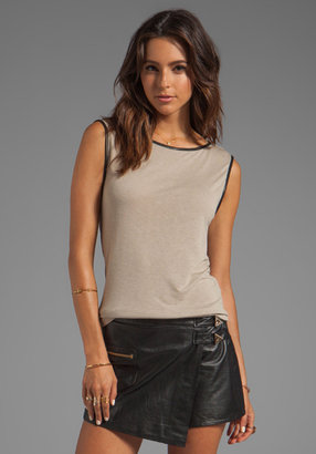 Alice + Olivia Cale Asymmetrical Tee With Leather Trim