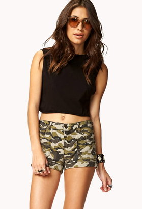 Forever 21 cuffed camo print shorts
