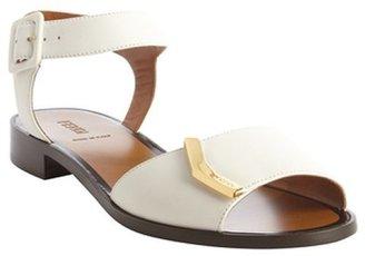 Fendi white leather gold detail anklestrap flat sandals