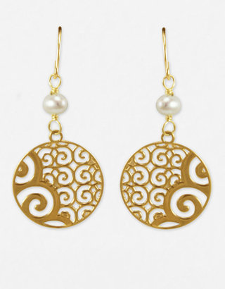 Lord & Taylor 14 Kt. Gold Disc & Pearl Drop Earrings