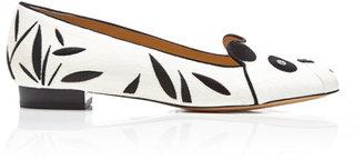 Charlotte Olympia Panda Embroidered Velvet Loafers Porcelain White