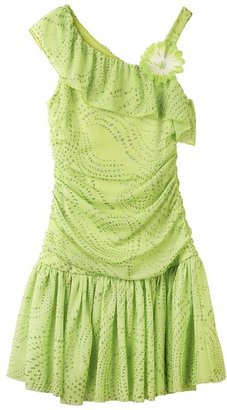 Amy Byer Iz glitter asymmetrical ruffle dress - girls 7-16