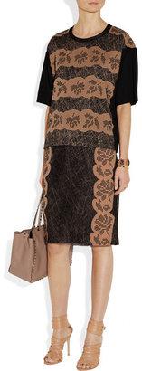 Bottega Veneta Embellished silk-satin and organza skirt
