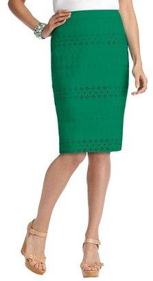 LOFT Cotton Eyelet Pencil Skirt