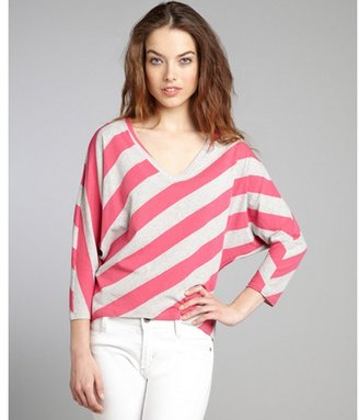 Rebecca Beeson hot pink and grey rugby stripe cotton blend v-neck hi-low hem shirt