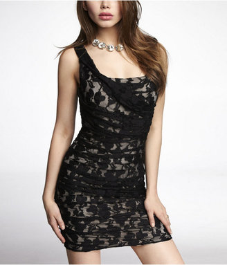 Express Lace Ruched Dress