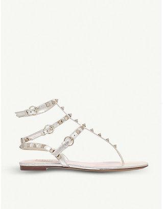 Valentino Rockstud metallic-leather sandals