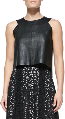Milly Leather Angular Shell Top