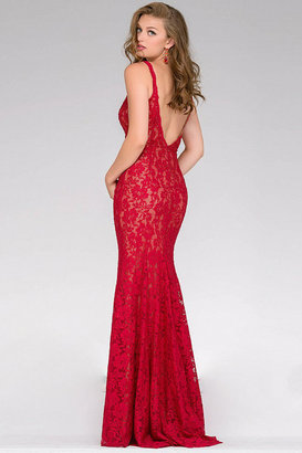 Jovani Fitted Lace Prom Dress 48994