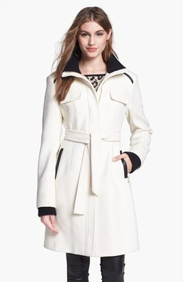 Vince Camuto Knit & Faux Leather Trim Belted Wool Blend Coat