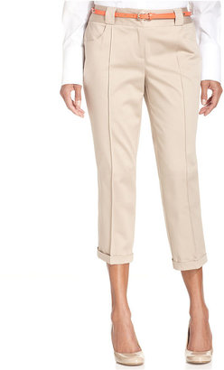 Style&Co. Pants, Belted Pleated Sateen Capri