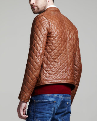 DSquared DSquared2 Quilted Leather Bomber Jacket, Light Brown