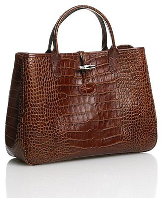 Longchamp Roseau Crocodile Satchel