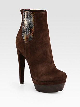 Rachel Zoe Audrey Suede and Snakeskin Platform Ankle Boots