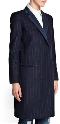 MANGO Outlet Pinstripe Wool-Blend Coat