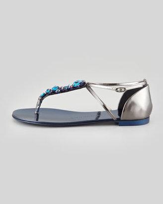 Giuseppe Zanotti Jeweled Flat Thong Sandal, Blue