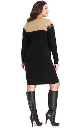Amy Byer Plus Size Long-Sleeve Colorblocked Lace-Trim Sweater Dress