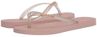 Havaianas Slim Logo Metallic Flip Flops (Ballet Rose) Women's Sandals