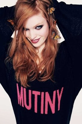 Wildfox Couture School Girl Mutiny V-Neck Sweater in Clean Black