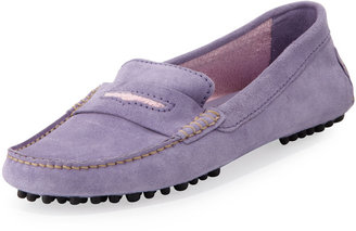 Manolo Blahnik Terry-Trimmed Suede Driver, Lilac/Pink