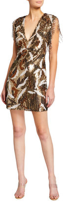 Jay Godfrey San Jose Deep V-Neck Fringe Shoulder Mini Dress