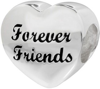 """Individuality Beads Sterling Silver """"Forever Friends"""" Heart Bead"""