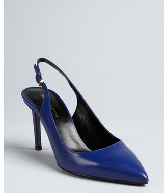 Saint Laurent navy leather point toe slingback pumps