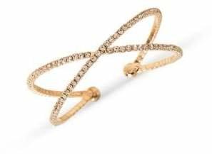 Cezanne Goldtone Crystal Double-Row Cuff Bracelet