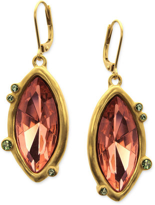 T Tahari Earrings, 14k Gold-Plated Multicolor Crystal Leverback Earrings