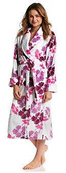 Jasmine Rose® Plum Microfleece Wrap Robe - Hibiscus Floral