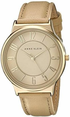 Anne Klein Women's AK/1928TNTN Easy To Read Dial Watch with Tan Leather Strap