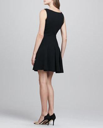 Milly Pleat-Skirt Wool Dress, Black