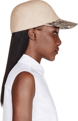 Stella McCartney Beige Straw & Python Skin Sahara Hat