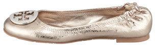 Tory Burch Reva Metallic Leather Ballerina Flat, Pewter