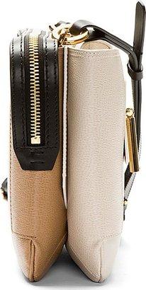 Lanvin Ecru & Tan Leather Beyond Le Jour Shoulder Bag