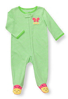 Carter's Baby Girls' Lime Green Cotton Butterfly Footie