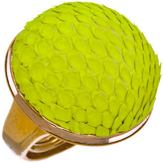 Ted Rossi Neon Yellow Python Dome Ring