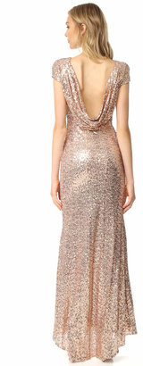 Badgley Mischka Collection Sequin Cowl Back Gown $615 thestylecure.com