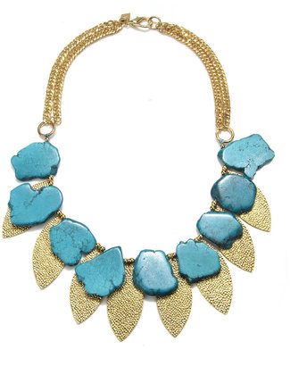 Sequin Turquoise Gold Leaf Necklace