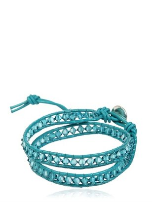 Swarovski Crystals On Leather Bracelet