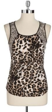Adrianna Papell Animal Print Georgette Tank Top