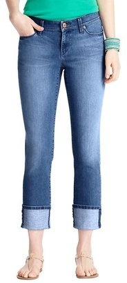 LOFT Curvy Straight Cuffed Cropped Jeans in Sea Breeze Wash