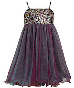 Bonnie Jean Girls' 7-16 Multi Sequin Babydoll Mesh Dress