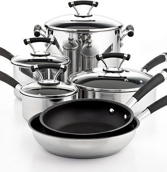 Circulon Closeout! Contempo Stainless Steel 10 Piece Cookware Set