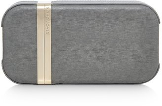 Stacy Chan London New Sophie Clutch Bag In Grey Saffiano Leather