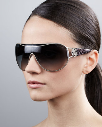 Roberto Cavalli Metal-Framed Shield Sunglasses, Natural Leopard