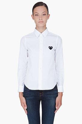 Comme des Garcons White Black Emblem Blouse